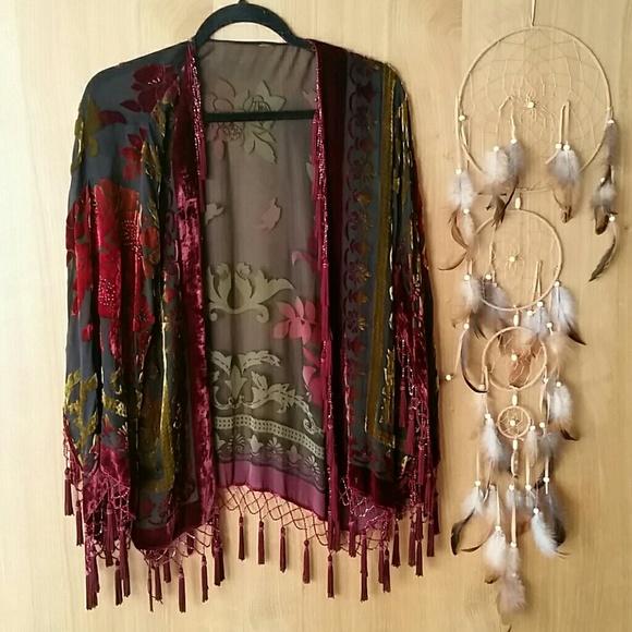 Jackets & Blazers - Vintage Crushed Velvet Bead & Tassle Boho Festival